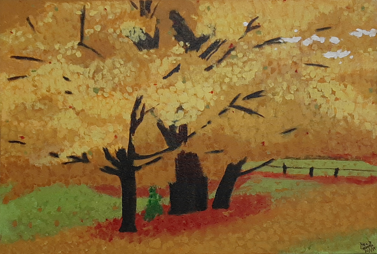 Yellow Leaves by Tejal Bhagat, Expressionism Painting, Acrylic on Canvas, Brown color