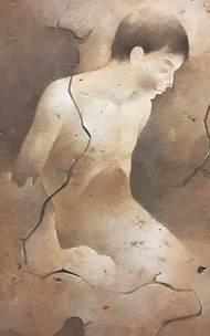 Untitled by Mintu Naiya, Impressionism Painting, Watercolor Wash on Paper, Brown color