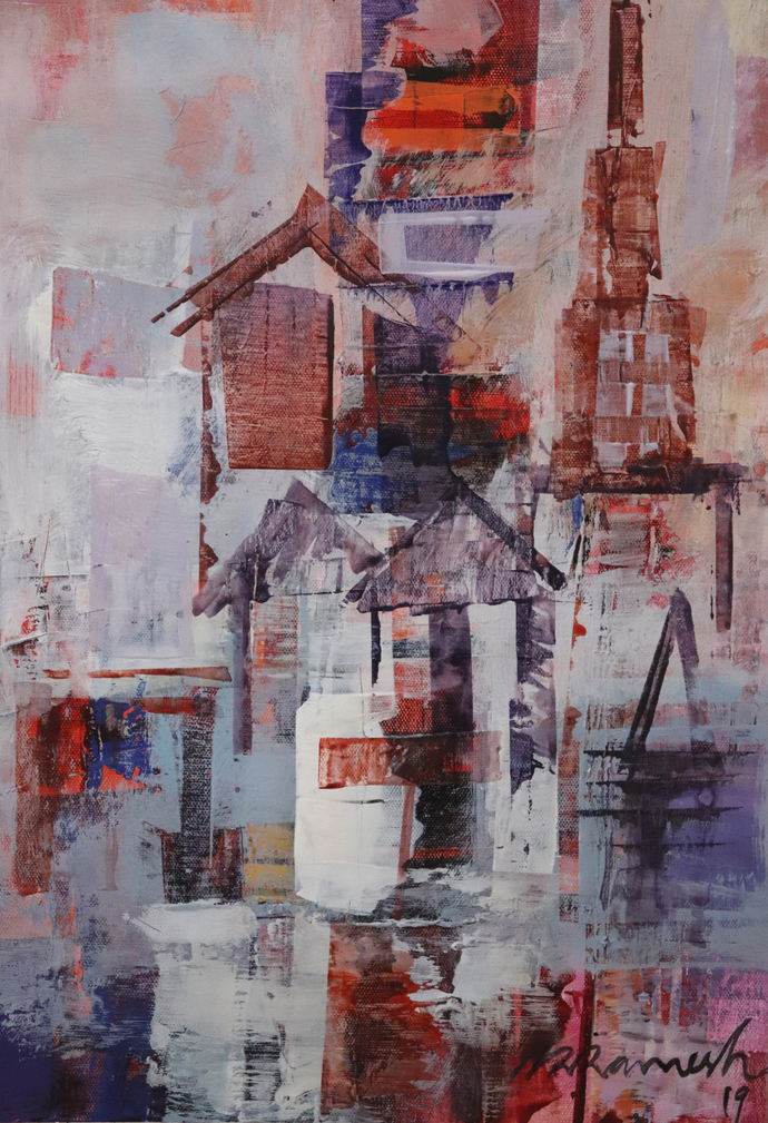The City 3 by A.R.Ramesh, Abstract Painting, Acrylic on Canvas, Pink color