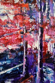 Springtime by Usha Shantharam, Abstract Painting, Acrylic on Canvas, Blue color