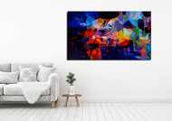 Colour of the Universe XVII by Sumitava Maity, Abstract Painting, Oil on Canvas, Blue color