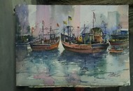 Busy Morning by Ananda Ahire, Impressionism Painting, Watercolor on Paper, Gray color