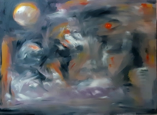 Shadows by Debajyoti Roy, Abstract Painting, Acrylic on Canvas, Gray color