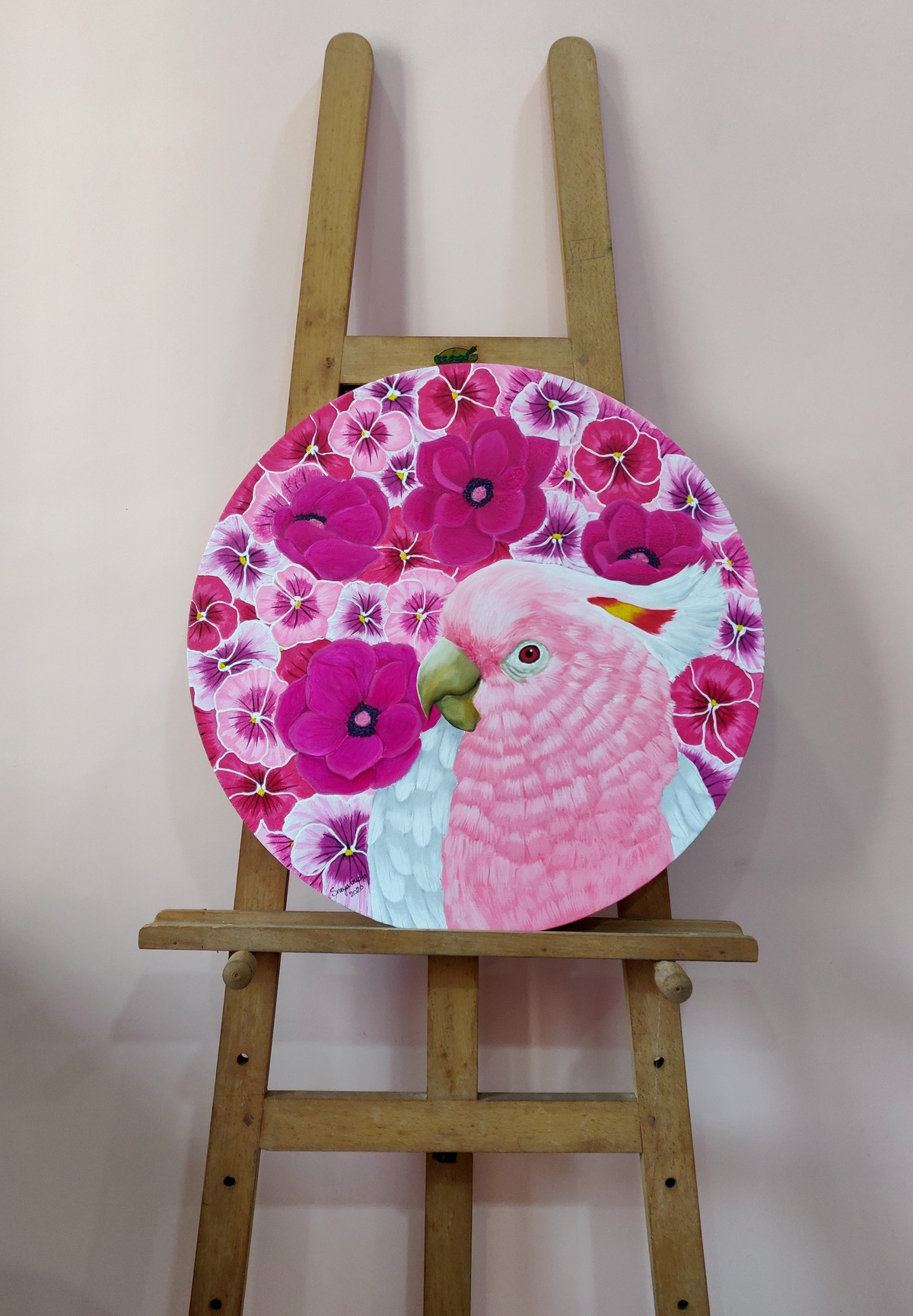 Pink blossom easel