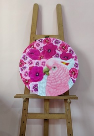 Pink Blossom by Sreya Gupta, Pop Art Painting, Acrylic on Canvas, White color