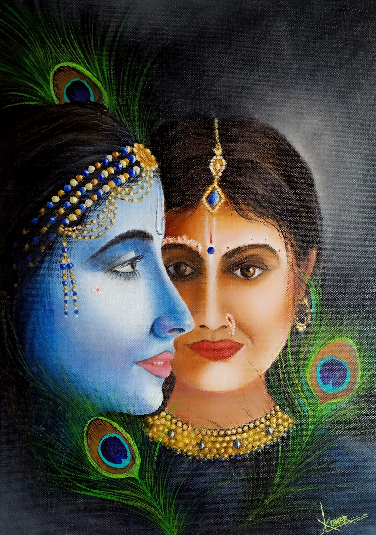 Radha Krishna by Kumar Ranadive, Photorealism Painting, Oil & Acrylic on Canvas, Indian Khaki color