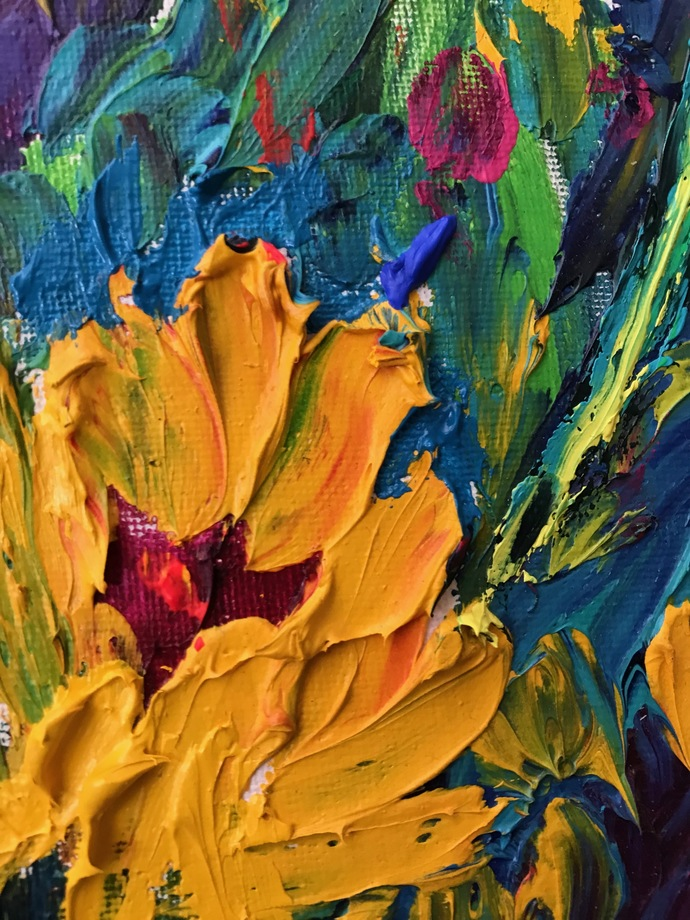 Sunflowers by Konika Banerjee, Expressionism Painting, Oil on Canvas Board, Brandy Punch color