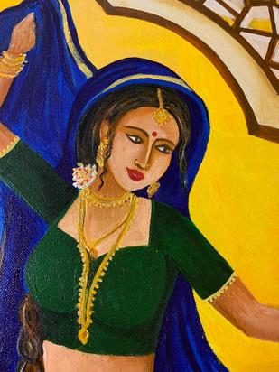 The Dancer by Mallika Seth, Expressionism Painting, Acrylic on Canvas, Tulip Tree color