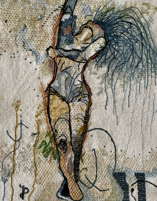 NUDE AESTHETICS PB/NA - 33 by Puja Bhakoo, Expressionism Textile, Stitching on Cloth , Gray color