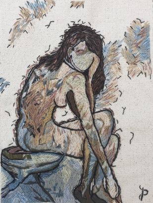 NUDE AESTHETICS PB/NA - 18 by Puja Bhakoo, Expressionism Textile, Stitching on Cloth , Cloud color