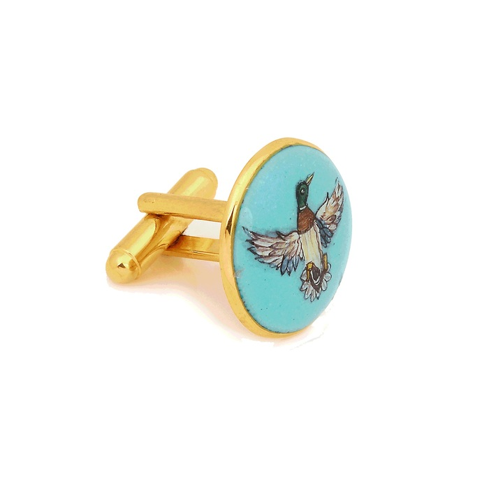 SIGNATURE ROYAL DUCK CUFFLINKS by Ikka Dukka Studio Pvt Ltd, Contemporary Button/Cufflink