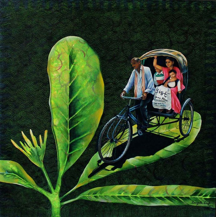 Chal Chala Chal by Sangeeta Singh, Fantasy Painting, Oil & Acrylic on Canvas, Green color