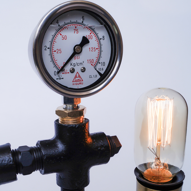 Industrial 2 lamp interior design pipe lamps tabele lamp black pressure gauge