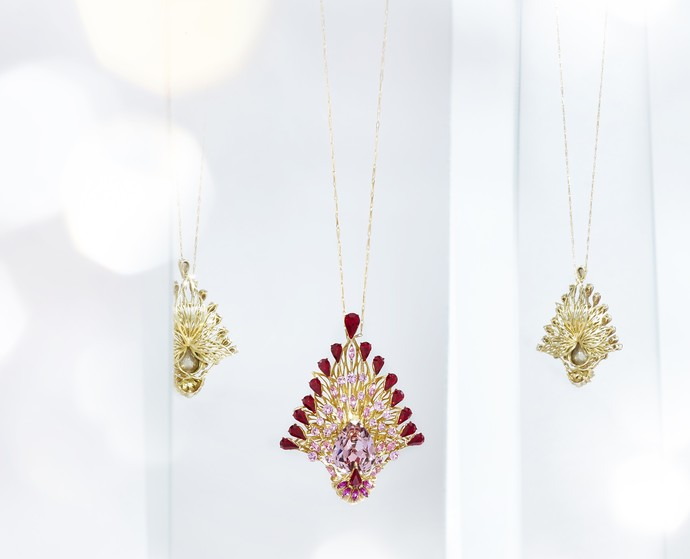 Plume Pendant in Swarovski crystals by Nine Vice, Art Jewellery Pendant
