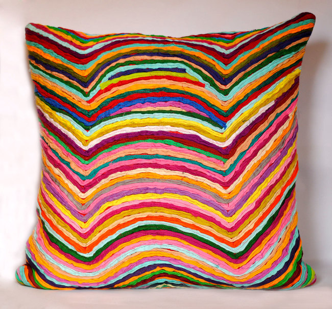 Wave   multicolor    cushion cover  18 x 18  3
