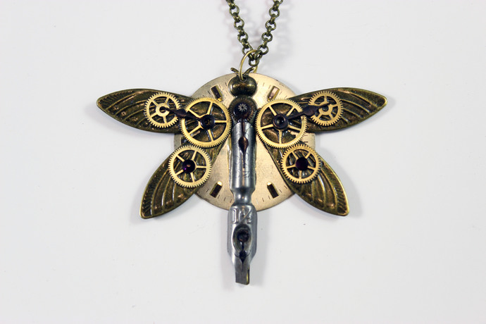 PurpleWings Dragonfly by Absynthe Design, Art Jewellery Pendant