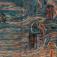 Symphony of Contemplations by Vasundhara Anand, Expressionism Printmaking, Wood Cut on Paper, Brown color