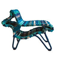 Horse Chair & Woof Pouf with cushion Set In Blue color Furniture By Sahil & Sarthak