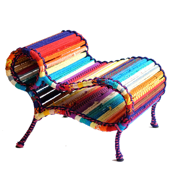 Love Chair & Little Bo Peep Pouf with cushion Set In California Sunset Furniture By Sahil & Sarthak