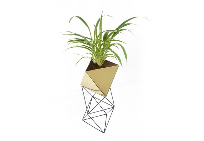 Octahedron Brass Planter - Large Decorative Vase By Deniable Studio