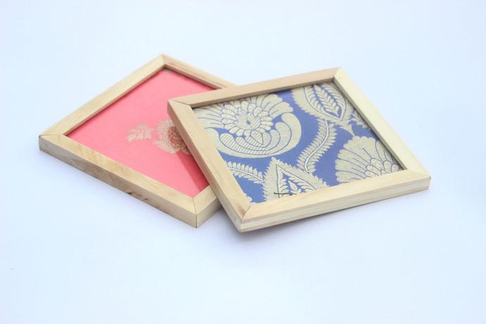 IVEI Banarasi brocade coasters set of 2 Photo Frame By i-value-every-idea
