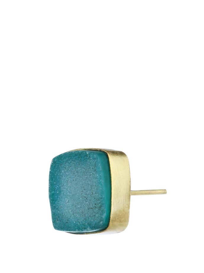 Green Gold Tone Brass Earring Set by IMLI STREET, Earring
