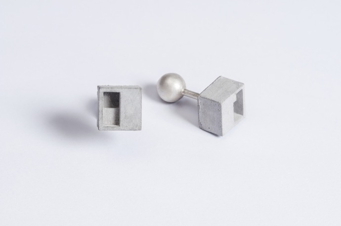 Micro Concrete Cufflinks by Material Immaterial, Art Jewellery Button/Cufflink