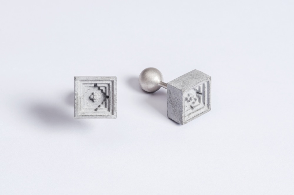 Micro Concrete Cufflinks by Material Immaterial, Contemporary Button/Cufflink
