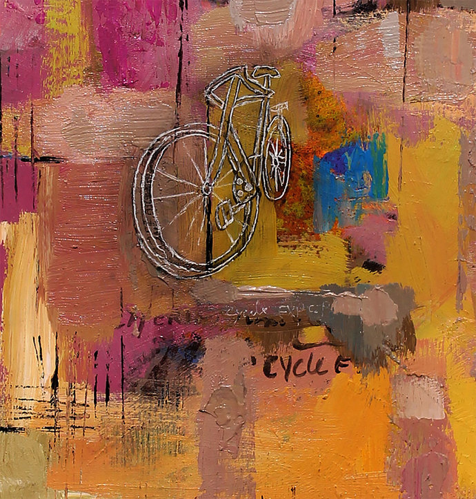 Cycle Experience 46 by Ravi kumar Yogi, Abstract Painting, Acrylic on Paper, Brown color