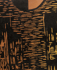 Raising Above the Void by Vasundhara Anand, Impressionism Printmaking, Wood Cut on Paper, Brown color