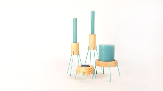 Fyre - Small [Light Blue] Candle Stand By Rayden Design Studio