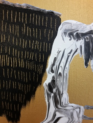 Splosh by Sheetal Singh, Abstract Painting, Acrylic on Canvas, Brown color