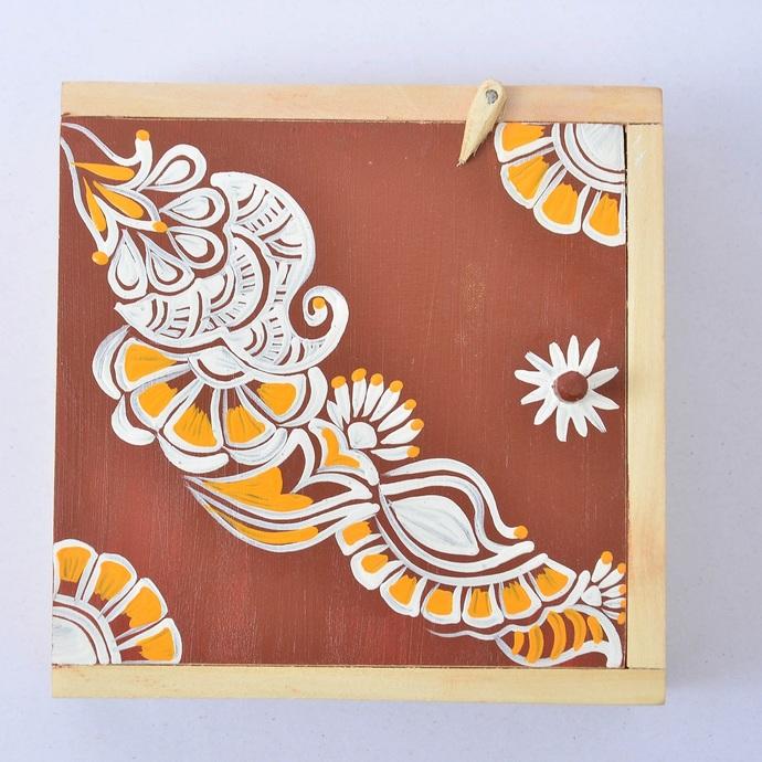 IVEI Hand painted wooden Chowk Art trinket box Decorative Box By i-value-every-idea
