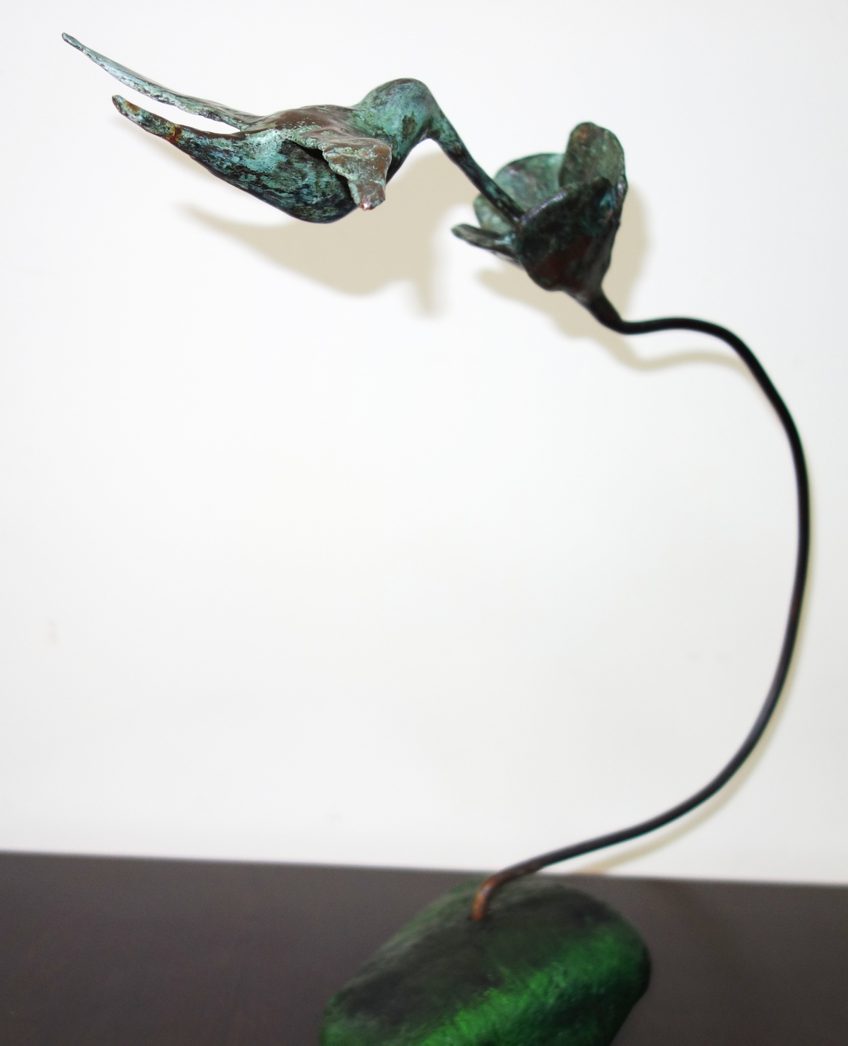 Humming bird by Usha Ramachandran, Art Deco Sculpture | 3D, Bronze, White color