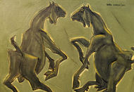 """Jugal, Coupling, Duet, Animal, Acrylic, Canvas, Green, Yellow, Ash by Indian Artist """"In Stock"""" by Tapan Ghosh, Expressionism Painting, Acrylic on Canvas, Green color"""