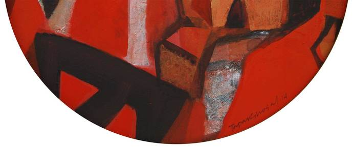 "Abstract, Round, Acrylic, Pastel, Pigment, Canvas, Red, Black, Brown ""In Stock"" by Tapas Ghosal, Abstract Painting, Acrylic on Canvas, Brown color"