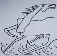 """Horse, Animal Drawing, Ink on paper, Black & White by Modern Indian Artist """"In Stock"""" by Prokash Karmakar, Illustration Drawing, Ink on Paper, Pink color"""