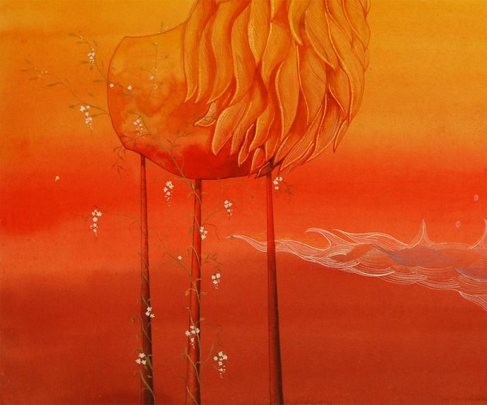 "Untitled, Mixed Media on Acid Free Paper by Contemporary Artist ""In Stock"" by Pratul Dash, Surrealism Painting, Mixed Media on Paper, Orange color"