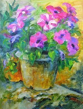 Petunia In Garden - 1 by Swati Kale, , , Green color