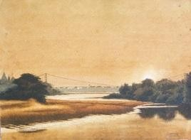 Hanging Bridge by Chinmaya Panda, , , Beige color