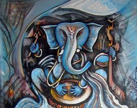 Ganesha by M Singh, , , Green color