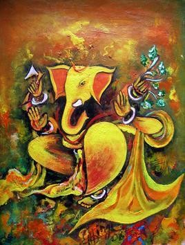 Ganesha by M Singh, , , Brown color