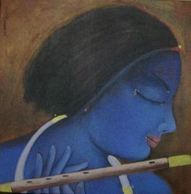 Krishna by Sekhar Roy, , , Blue color