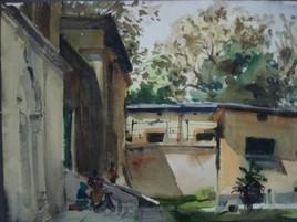 Back Door by Sumantra Mukherjee, , , Gray color