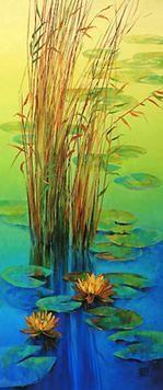 Waterlilies-14 by Swati Kale, , , Green color