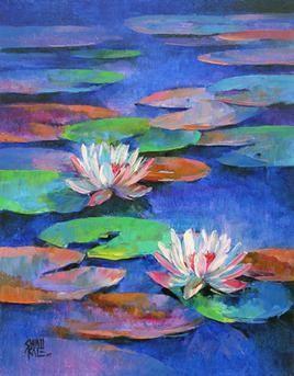 Waterlilies-15 by Swati Kale, , , Blue color