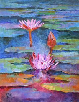 Waterlilies-17 by Swati Kale, , , Blue color