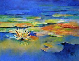 Waterlilies - 21 by Swati Kale, , , Blue color