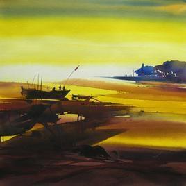 Ocean Moods- 3 by Sunil Kale, , , Brown color