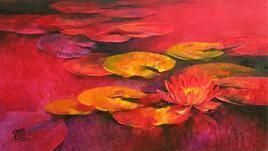Waterlilies - 27 by Swati Kale, , , Red color